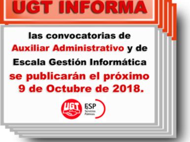 🔴 UGT  INFORMA: LAS CONVOCATORIAS DE AUXILIAR ADMINISTRATIVO Y DE ESCALA GESTIÓN INFORMÁTICA (UGR)