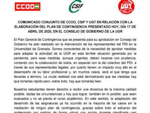 🔴 UGT   UGR INFORMA: COMUNICADO CONJUNTO DE CCOO, CSIF Y UGT EN RELACIÓN CON LA ELABORACIÓN DEL PLA