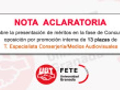 """""""NOTA ACLARATORIA"""" sobre la presentación de méritos   trece plazas de T. Especialista Co"""