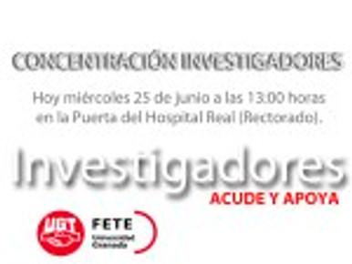 COMUNICADO DE LOS INVESTIGADORES  CONCENTRACIÓN INVESTIGADORES HOY MIÉRCOLES DÍA 25…