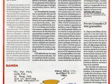 """🔴 """"UGT y el voto electrónico en la UGR"""". Por Antonio Oña Sicilia."""
