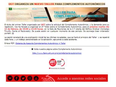 🔴 COMPLEMENTO AUTONÓMICO: CONTINÚA EL APOYO DE UGT AL PROFESORADO. ORGANIZAMOS UN NUEVO TALLER Y CO
