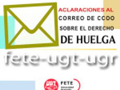 ACLARACIONES AL CORREO DE CCOO SOBRE EL DERECHO DE HUELGA