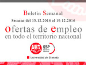 Boletín semanal de Ofertas de empleo público.  (Semana del 13.12.2016 al 19.12.2016)
