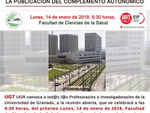 🔴 UGT CONVOCA REUNIÓN ABIERTA DE TODOS LOS PROFESORES E INVESTIGADORES DE LA UGR SOBRE LA PUBLICACI