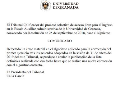 🔴 UGT   INFORMA: ESCALA AUXILIAR ADMINISTRATIVA (77 plazas).  COMUNICADO