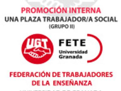 Concurso Oposición por Promoción Interna de una plaza de trabajador/a social (grupo II) UGR