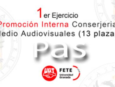 1er Ejercicio Promoción Interna Conserjeria/Medio Audiovisuales (13 plazas)