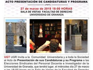 🔴 UGT INVITA ACTO PRESENTACIÓN DE CANDIDATURAS Y PROGRAMA