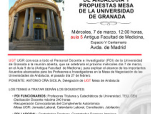 UGTCONVOCA REUNIÓN ABIERTA PROFESORES E INVESTIGADORES (PDI)