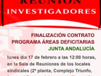 REUNIÓN INVESTIGADORES AREAS DEFICITARIAS