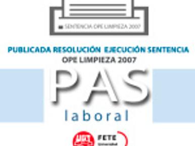 PUBLICADA RESOLUCIÓN EJECUCIÓN SENTENCIA OPE LIMPIEZA 2007