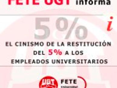 EL CINISMO DE LA RESTITUCIÓN DEL 5% A LOS EMPLEADOS UNIVERSITARIOS