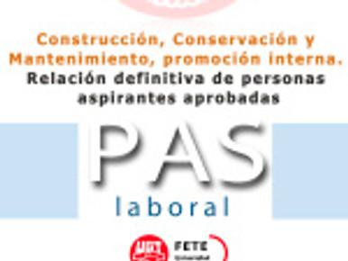 Construcción, Conservación y Mantenimiento, promoción interna. Relación definitiva de personas aspir