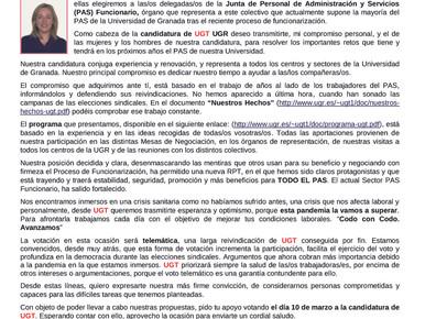 ✉️ CARTA PERSONAL CABEZA LISTA UGT ELECCIONES  PAS
