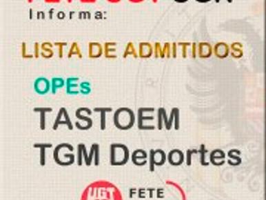 RELACIÓN DE ADMITIDOS/AS TASTOEM Y TGM DEPORTES EN LA UGR