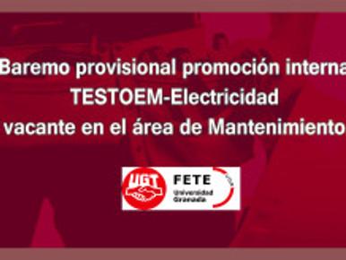 Baremo provisional promoción interna TESTOEM-Electricidad vacante en el área de Mantenimiento.