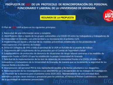 🔴PROPUESTA DE UGT UGR PARA LA REINCORPORACIÓN PRESENCIAL DEL PERSONAL DE LA UGR (PDI Y PAS)