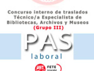 Concurso interno de traslados Técnico/a Especialista de Bibliotecas, Archivos y Museos (Grupo III)