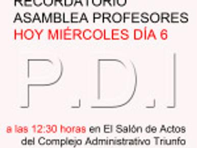 ASAMBLEA PROFESORES HOY MIÉRCOLES DÍA 6