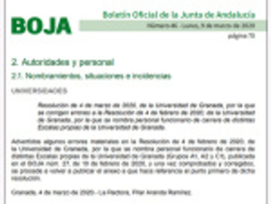 🔴  PROCESO DE FUNCIONARIZACIÓN: PUBLICADO EN BOJA CORRECCIÓN DE ERRORES EN EL NOMBRAMIENTO DE PERS