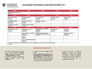 CALENDARIO PROVISIONAL AUDITORÍA EXTERNA 2017 (UGR)