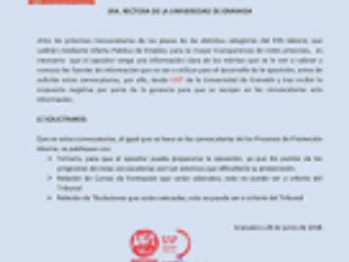 UGT INFORMA: PETICIÓN A LA RECTORA SOBRE LAS CONVOCATORIAS DE OFERTAS PÚBLICAS