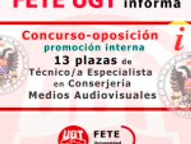 Concurso-oposición por promoción interna de 13 plazas de Técnico/a Especialista en Conserjería/Medio