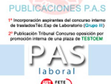 1º Incorporación aspirantes del concurso interno de traslados Téc.Esp de Laboratorio (Grupo III).  &