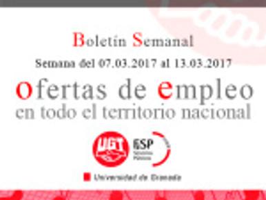 Boletín semanal de Ofertas de empleo público.  (Semana del 07.03.2017 al 13.03.2017)