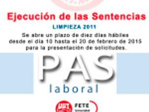 ABIERTO PLAZO ALEGACIONES SENTENCIAS OPE LIMPIEZA 2011