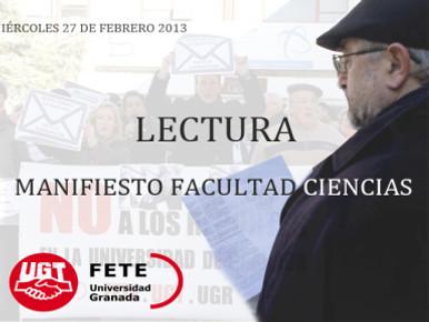 LECTURA MANIFIESTO – FACULTAD DE CIENCIAS
