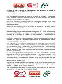 🔴 REUNIÓN DE LA COMISIÓN DE SEGUIMIENTO PAS ACUERDO DE MESA DE NEGOCIACIÓN UNIVERSIDADES ANDALUZAS