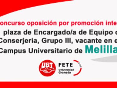 Concurso oposición por promoción interna 1 plaza de Encargado/a de Equipo de  Conserjería, Grupo III