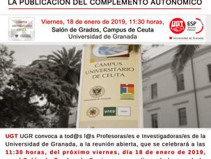 🔴 VIERNES 18 DE ENERO EN CEUTA, UGT CONVOCA REUNIÓN ABIERTA DE TODOS LOS PROFESORES E INVESTIGADORE