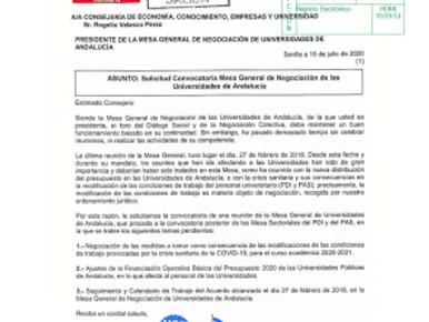 🔴 FeSP-UGT  ANDALUCÍA EXIGE LA CONVOCATORIA DE LA MESA DE NEGOCIACIÓN DE UNIVERSIDADES PARALIZADA D