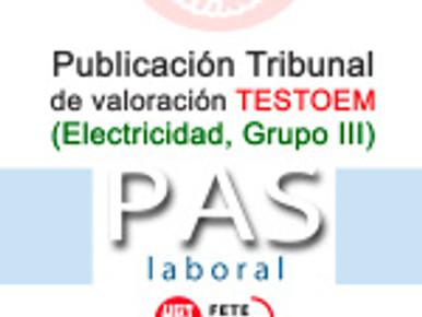 Publicación Tribunal de Valoración TESTOEM (Electricidad, Grupo III)
