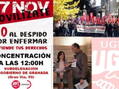 🔴UGT UGR INFORMA: UGT PROTESTA EN GRANADA CONTRA LA SENTENCIA QUE AVALA EL DESPIDO POR ESTAR DE