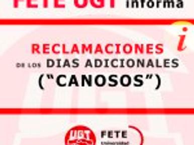 """RECLAMACIONES DE LOS DIAS ADICIONALES (""""CANOSOS"""")"""
