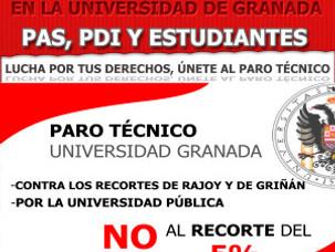 PARO TÉCNICO EN LA UNIVERSIDAD DE GRANADA  PAS, PDI Y ESTUDIANTES