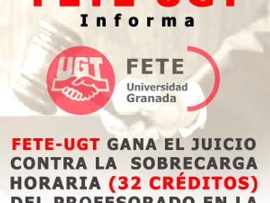 FETE-UGT GANA EL JUICIO CONTRA LA  SOBRECARGA HORARIA (32 CRÉDITOS) DEL PROFESORADO EN LA UNIVERSIDA