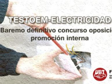 Baremo definitivo concurso oposición promoción interna – TESTOEM-ELECTRICIDAD