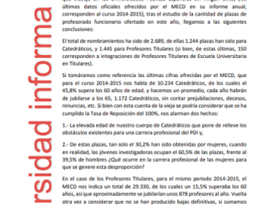 VALORACIÓN DE FeSP-UGT SOBRE LOS NOMBRAMIENTOS DE PERSONAL DOCENATE E INVESTIGADOR FUNCIONARIO EN LA