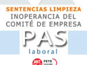 SENTENCIAS LIMPIEZA.  INOPERANCIA DEL COMITÉ DE EMPRESA