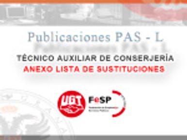 TÉCNICO AUXILIAR DE CONSERJERÍA: ANEXO LISTA DE SUSTITUCIONES