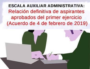 🔴 ESCALA AUXILIAR ADMINISTRATIVA: Relación definitiva de aspirantes aprobados del primer ejercicio.