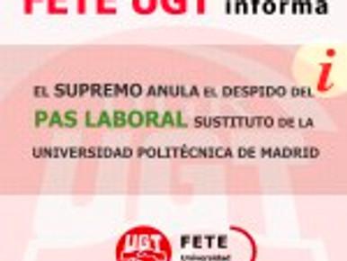 EL SUPREMO ANULA EL DESPIDO DEL PAS LABORAL SUSTITUTO DE LA UNIVERSIDAD POLITÉCNICA DE MADRID