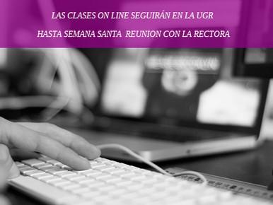 LAS CLASES ON LINE SEGUIRÁN EN LA UGR HASTA SEMANA SANTA REUNION CON LA RECTORA