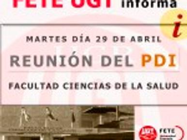 MARTES DÍA 29 DE ABRIL REUNIÓN DEL  PDI EN LA FACULTAD DE CIENCIAS DE LA SALUD