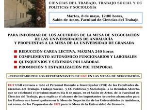 UGT UGR CONVOCA REUNIÓN ABIERTA PROFESORES E INVESTIGADORES (PDI). HOY MARTES, 8 DE MAYO, 12:00 HORA